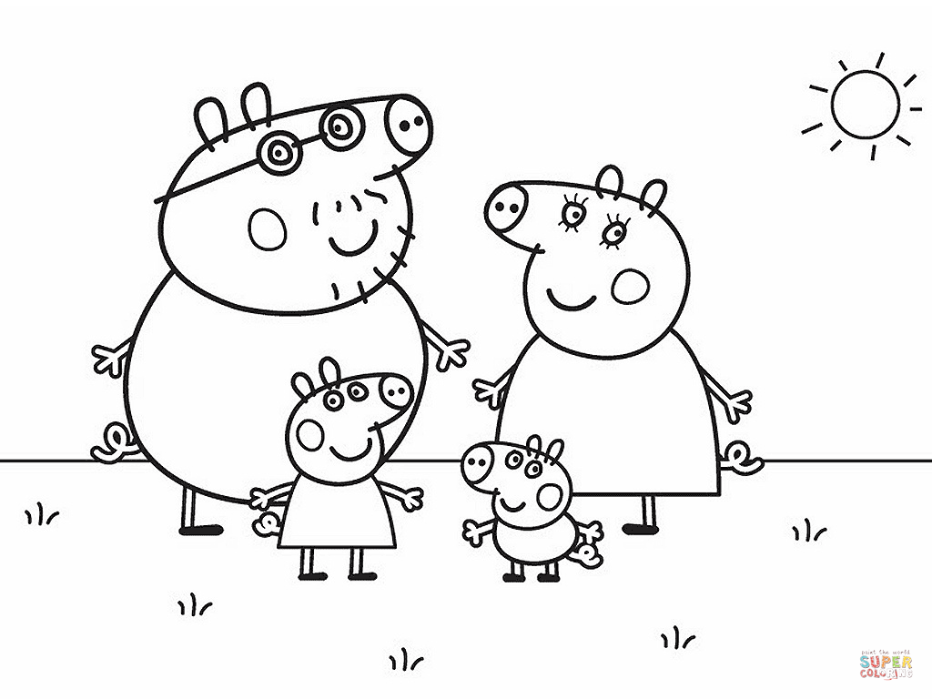 Peppa Pig S Family Coloring Page