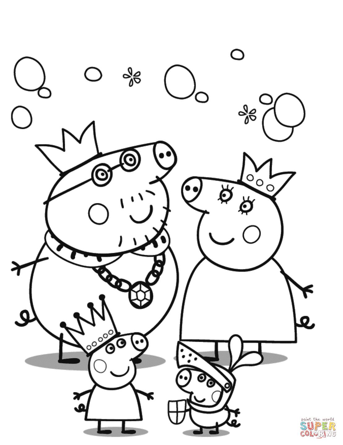 Peppa Pig S Royal Family Coloring Page