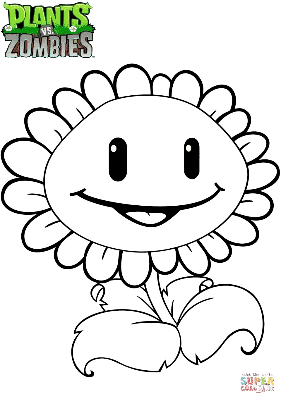 Plants Vs Zombies Sunflower Coloring Page Free Printable