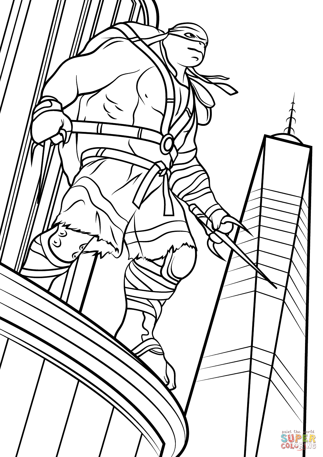 Raphael From Teenage Mutant Ninja Turtles Out Of The Shadows Coloring Page