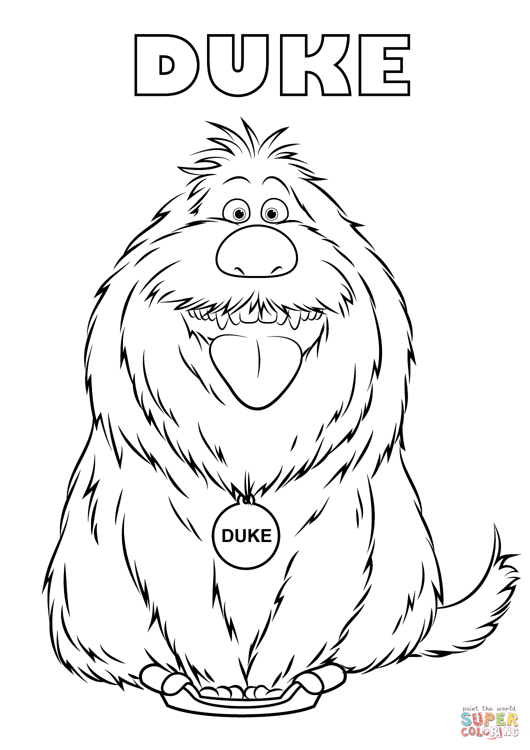 Duke From The Secret Life Of Pets Coloring Page
