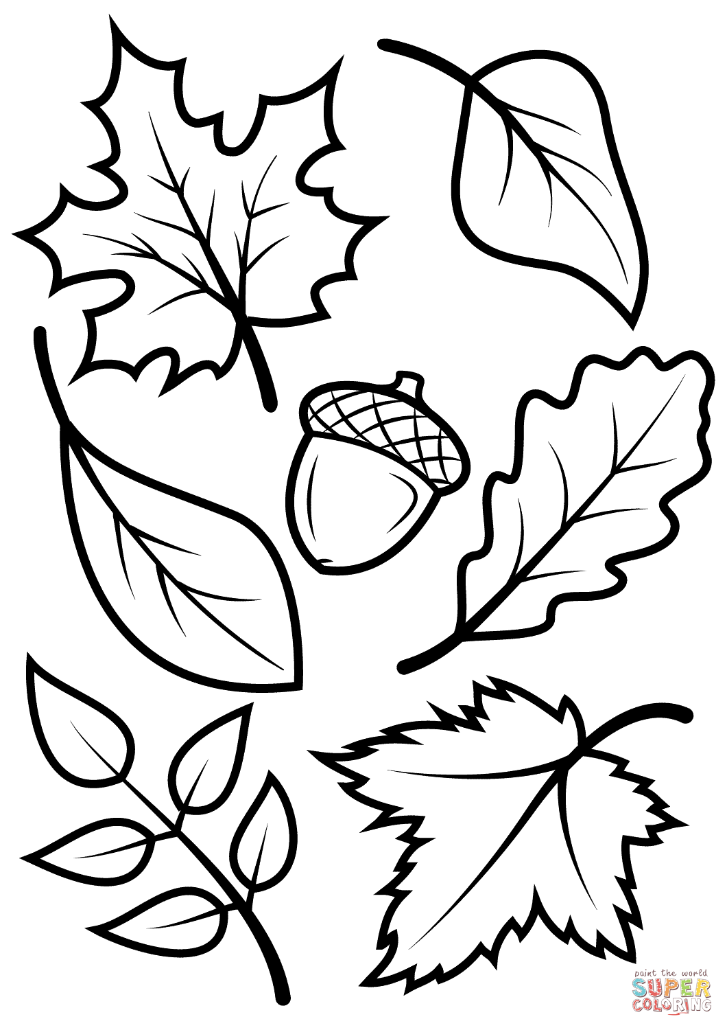 Fall Leaves And Acorn Coloring Page