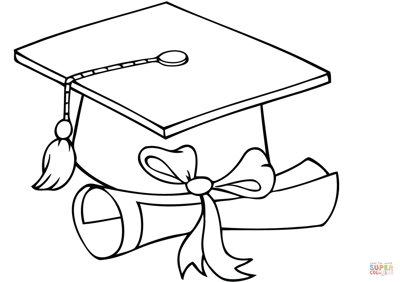 Graduate Cap With Diploma Coloring Page