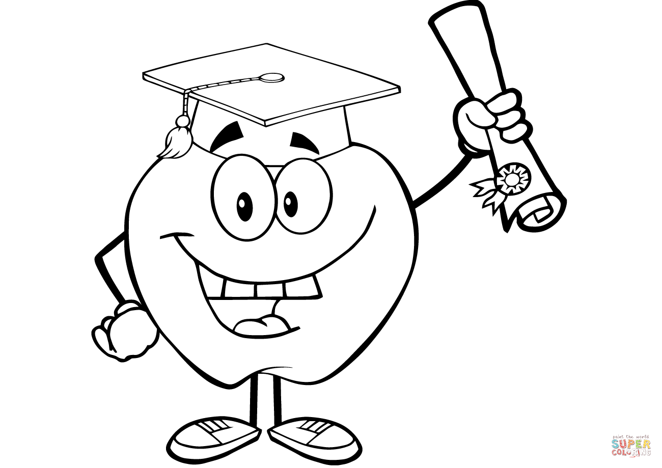 Happy Apple Graduate Holding A Diploma Coloring Page
