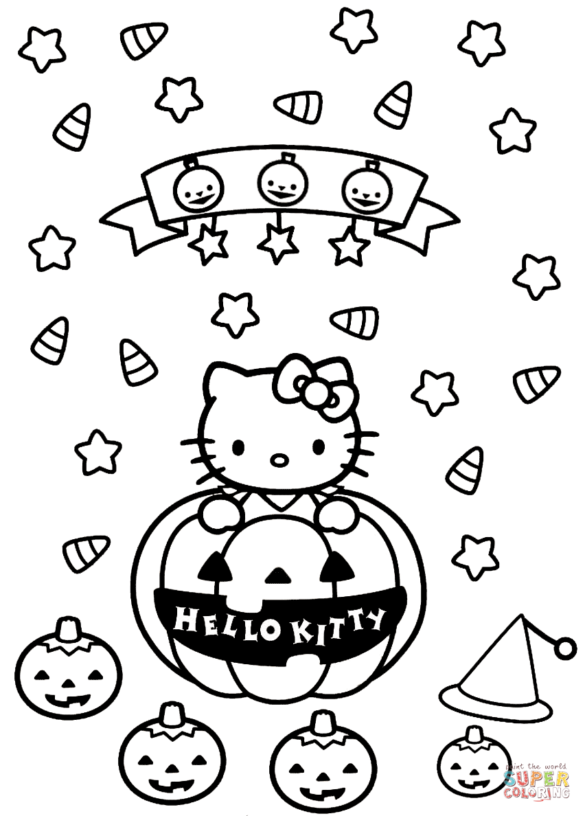 Hello Kitty Halloween Coloring Page Free Printable Pages Download
