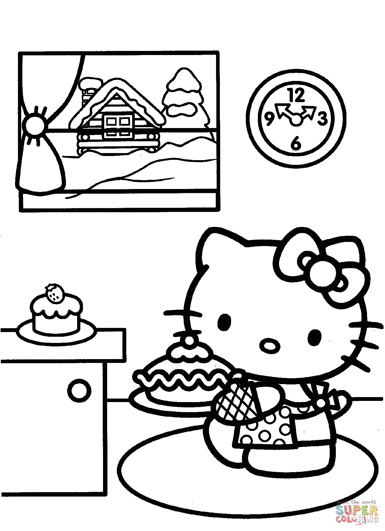 Hello Kitty Christmas Coloring Worksheet