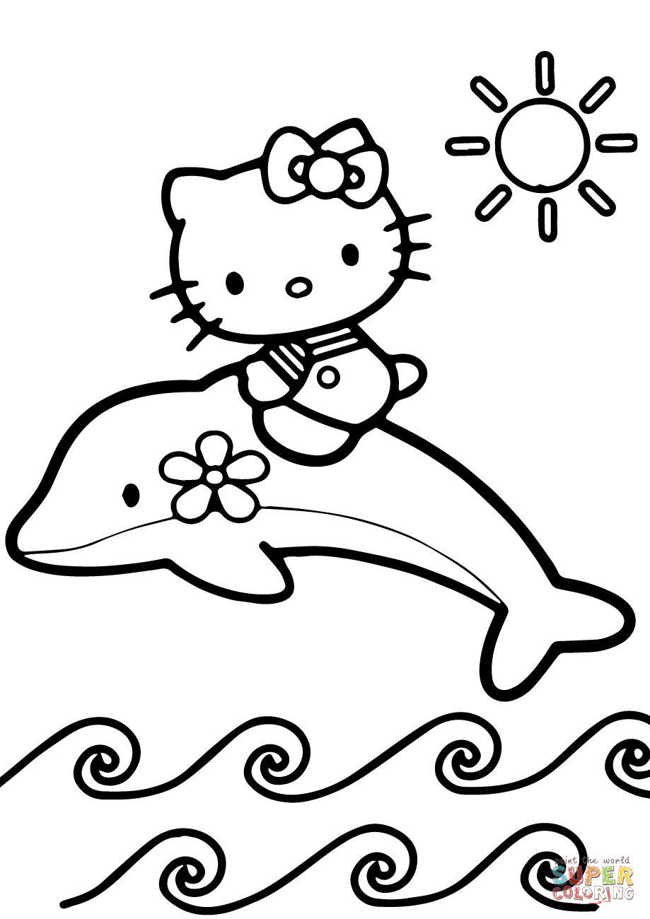 Hello Kitty Rides A Dolphin Coloring Page Free Printable