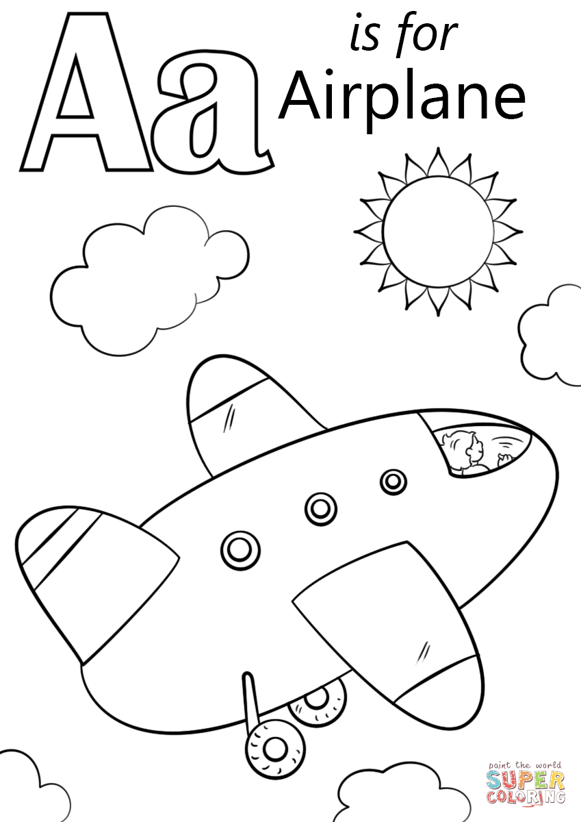 Letter A is for Airplane coloring page | Free Printable ...