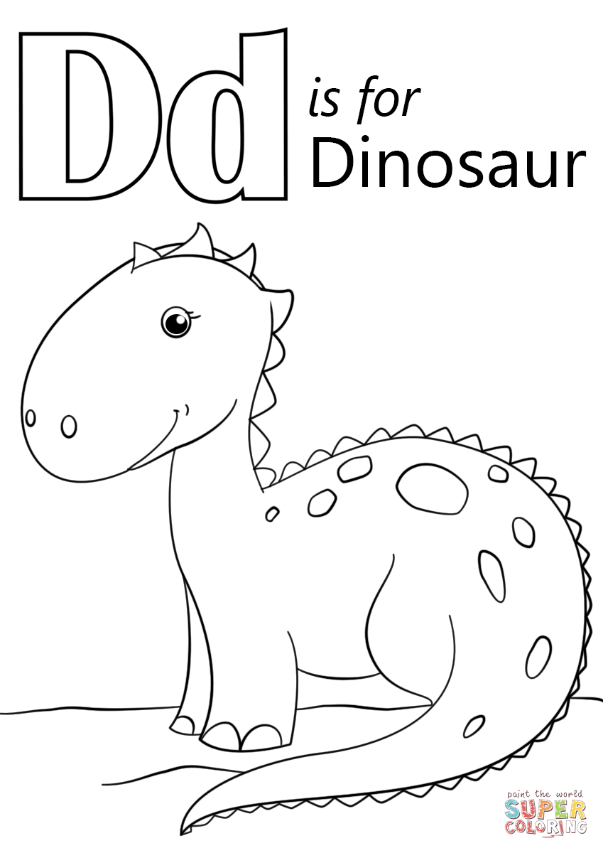 Letter D Is For Dinosaur Coloring Page Free Printable Coloring Pages