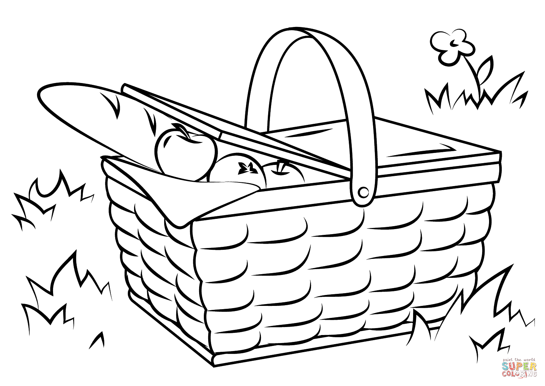 Picnic Basket Food Coloring Page