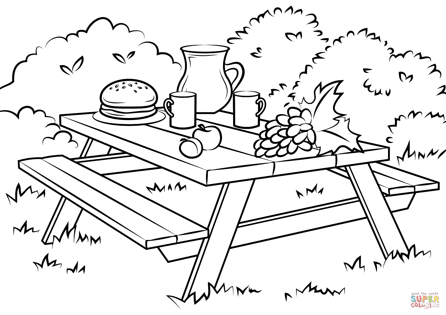 Picnic Table Coloring Page