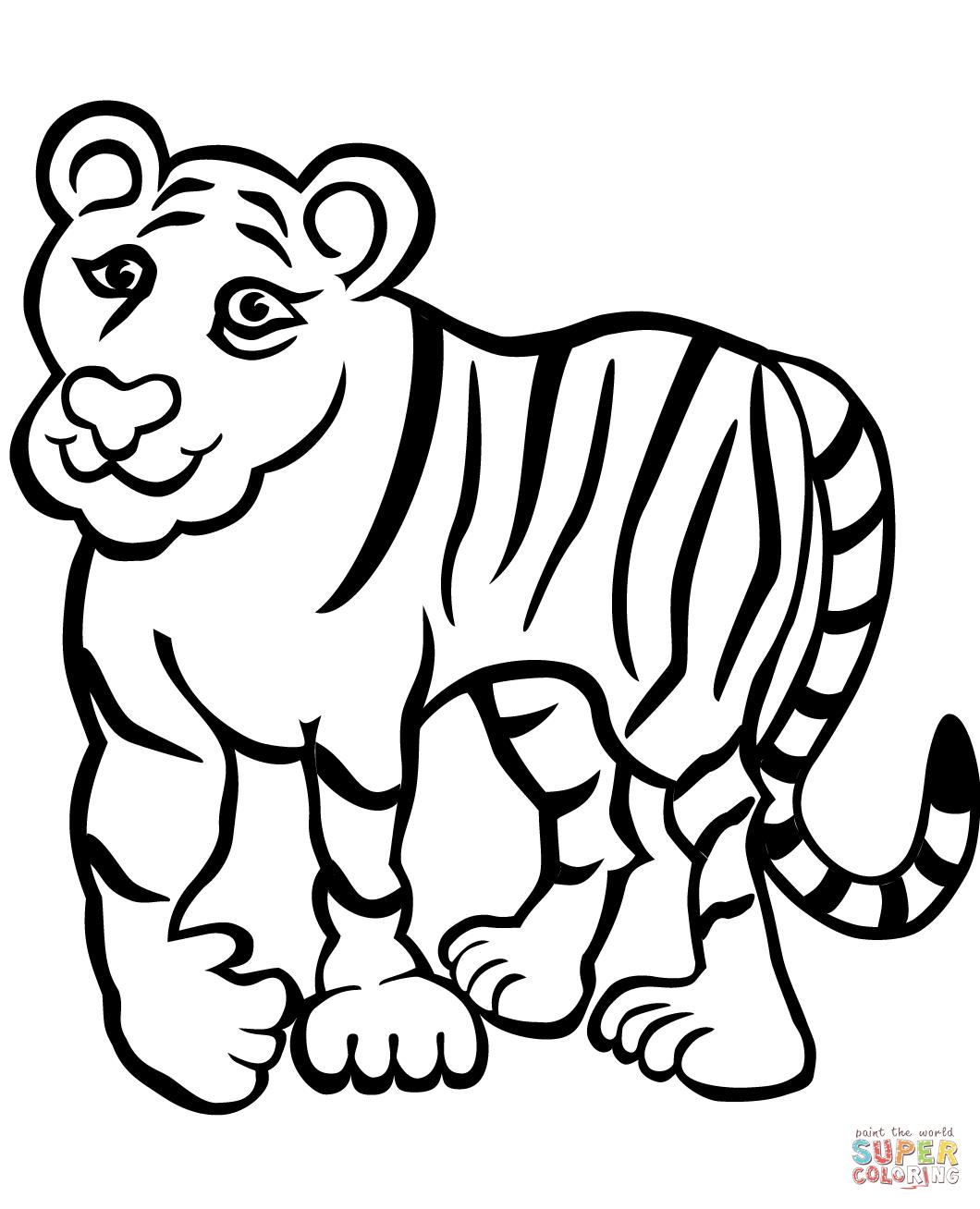 Sad Tiger Coloring Page