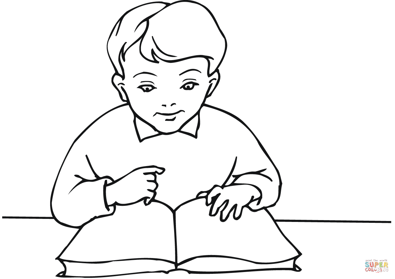 School Boy Reading A Book Coloring Page