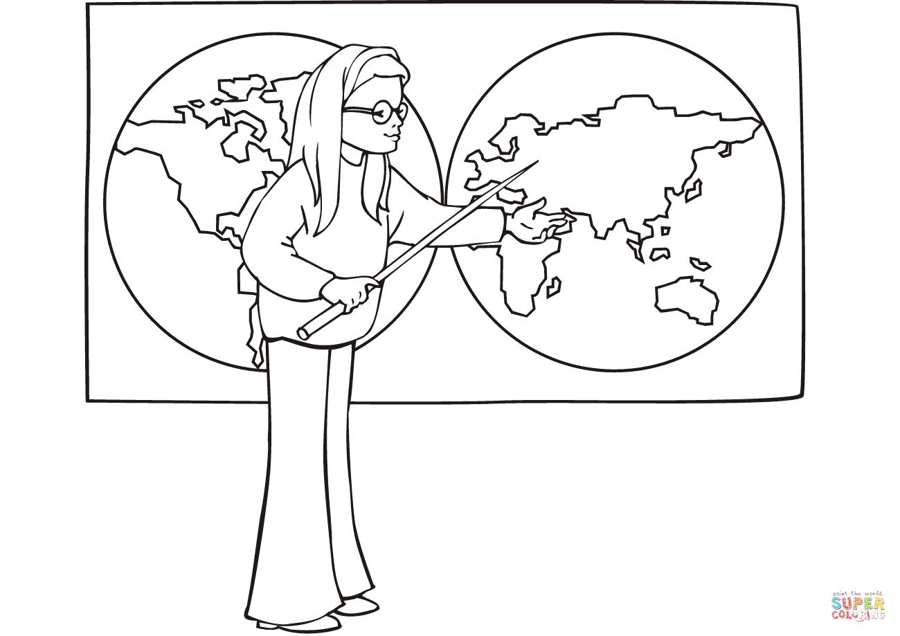 School Girl On Geography Lesson Coloring Page
