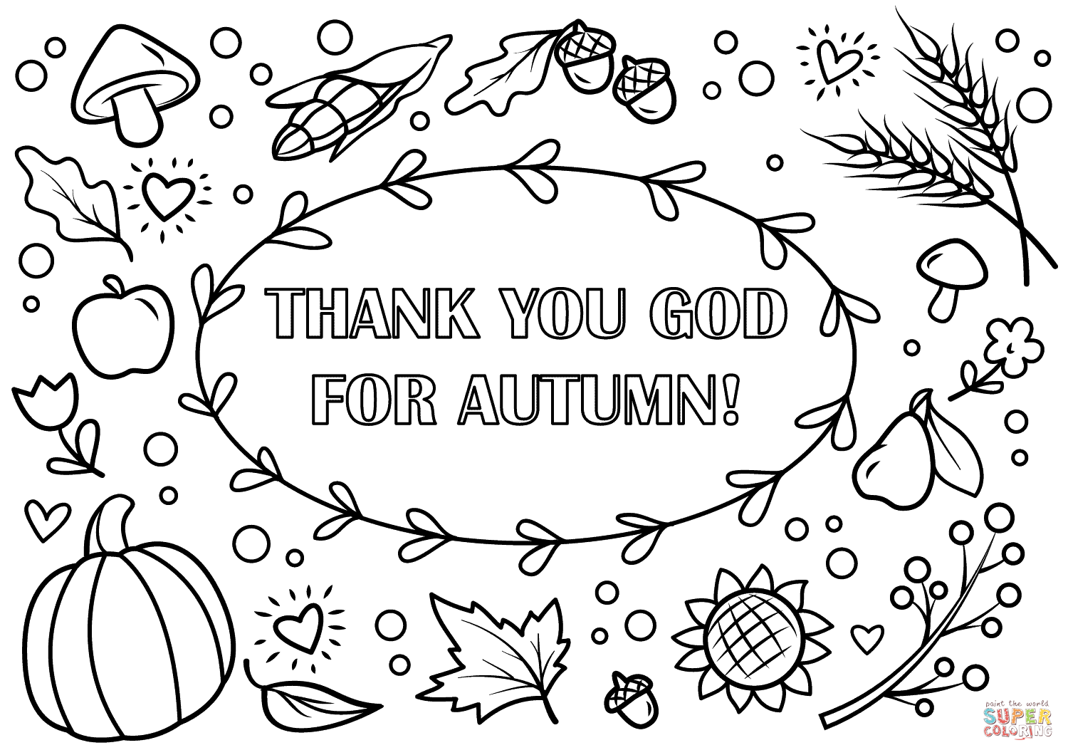 Thank You God For Autumn Coloring Page