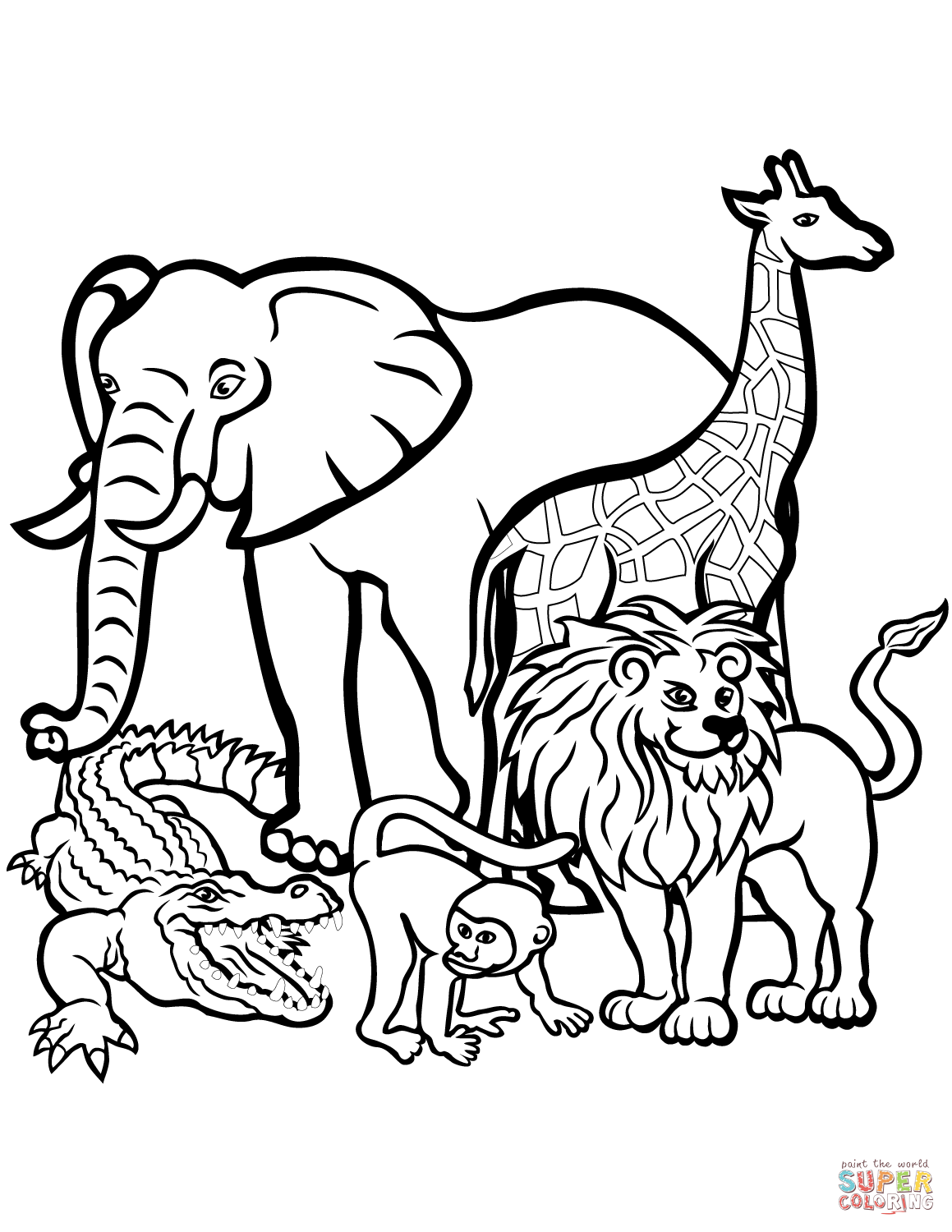 African Animals Coloring Page