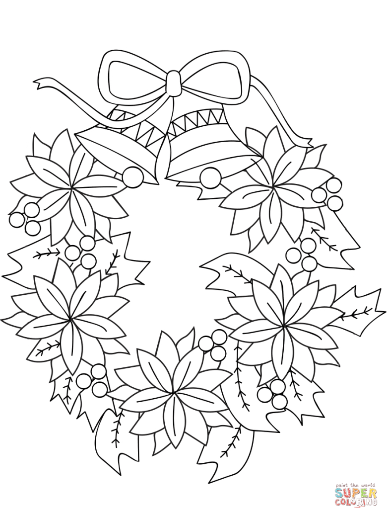 christmas wreath coloring page | free printable coloring pages
