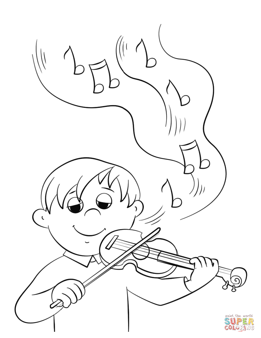 Cute Boy Playing Violin Coloring Page Free Printable Coloring Pages