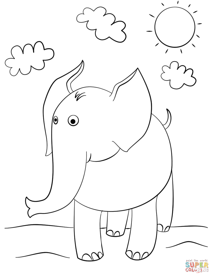 Free Coloring Pages Download Cute Cartoon Elephant Page Printable Of