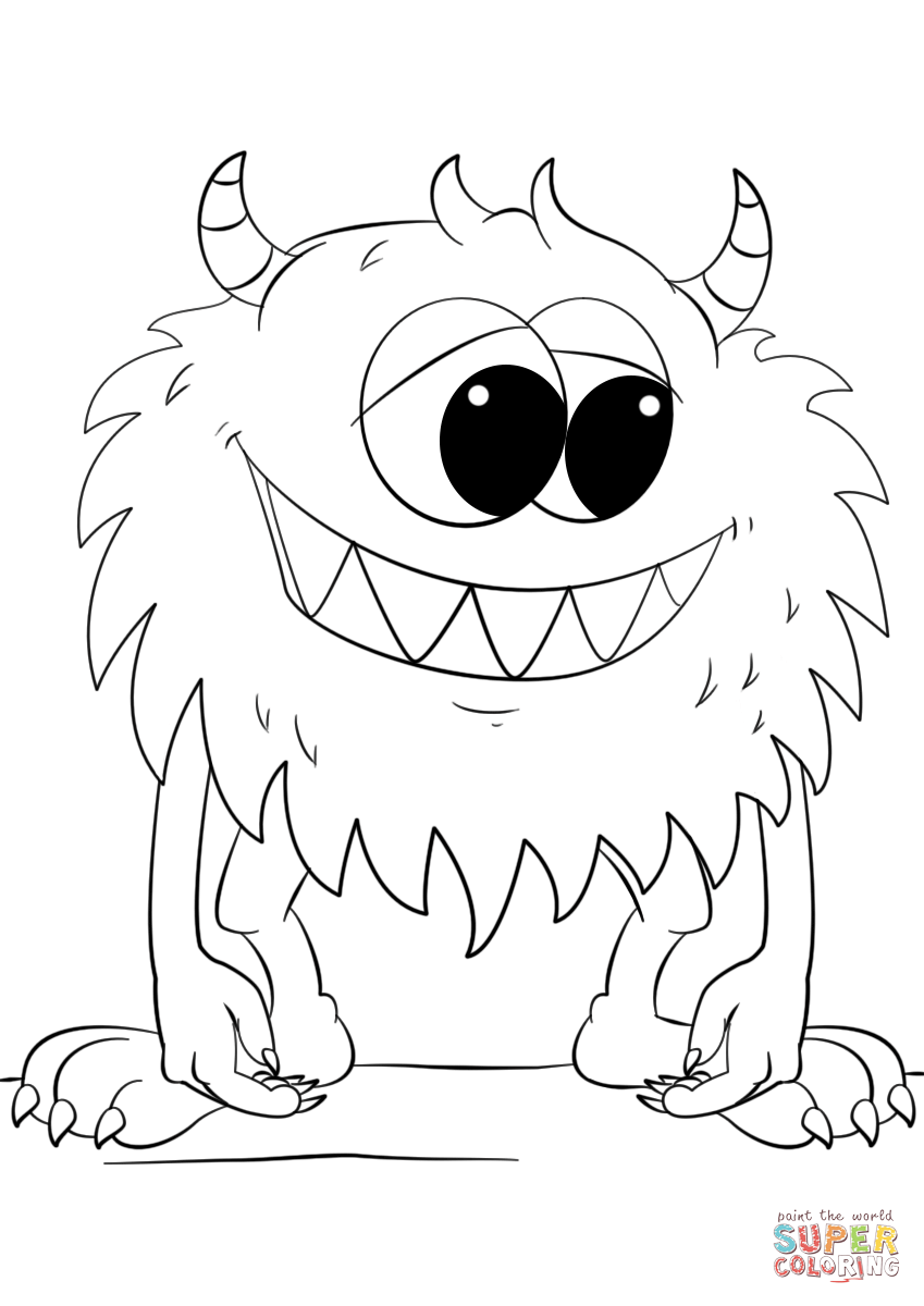 Cute Cartoon Monster Coloring Page Free Printable Coloring Pages