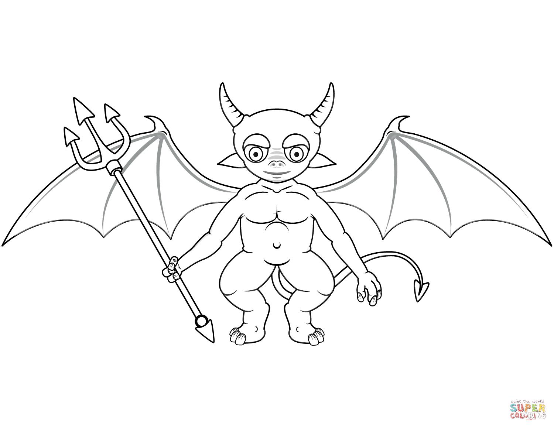 Cute Devil Coloring Page