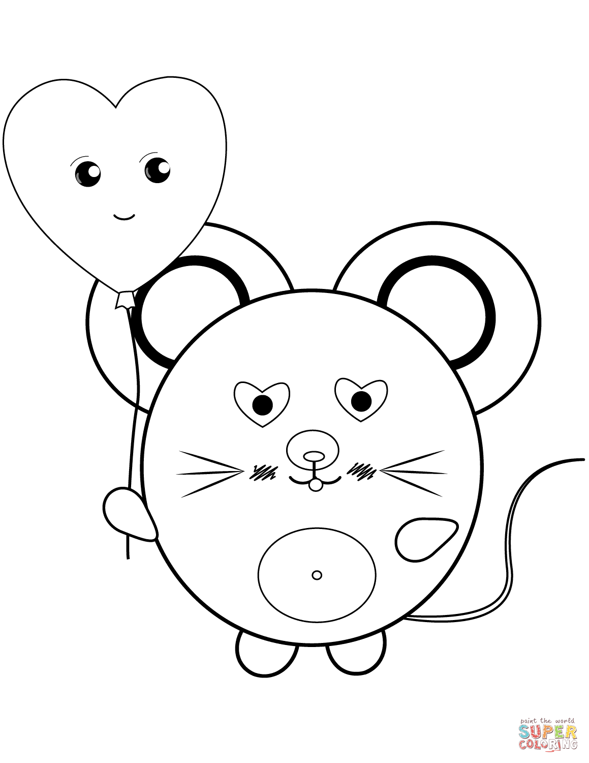 Kawaii Mouse Coloring Page