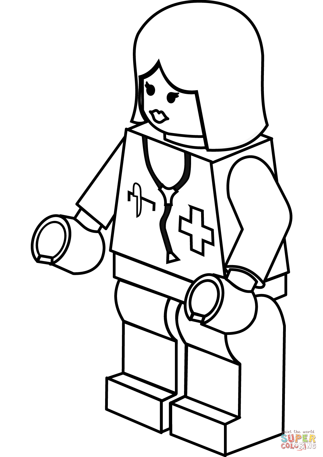 Lego Lady Doctor Coloring Page