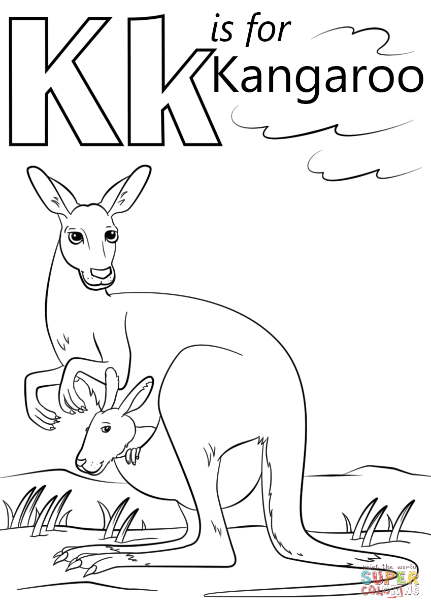 K Is For Kangaroo Coloring Page Free Printable Coloring Pages