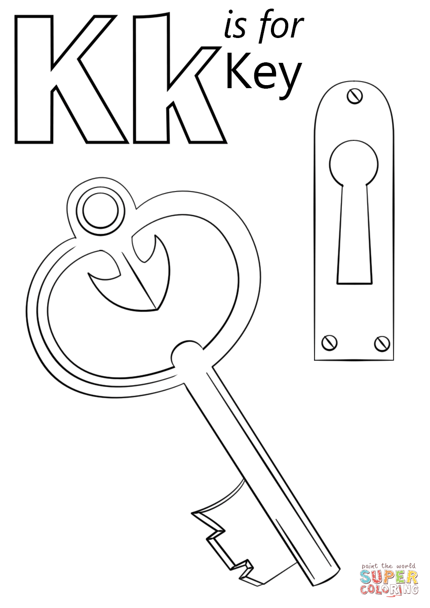 Letter K Is For Key Coloring Page Free Printable Coloring Pages