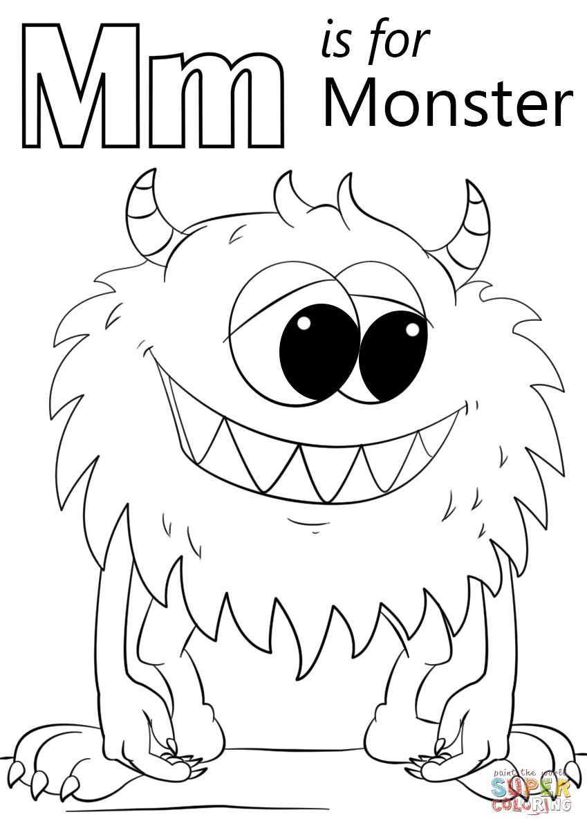Letter M Is For Monster Coloring Page Free Printable Coloring Pages