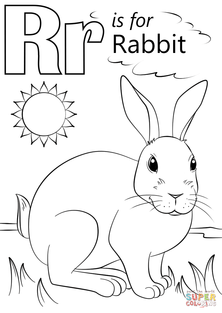 Letter R Is For Rabbit Coloring Page Free Printable Coloring Pages