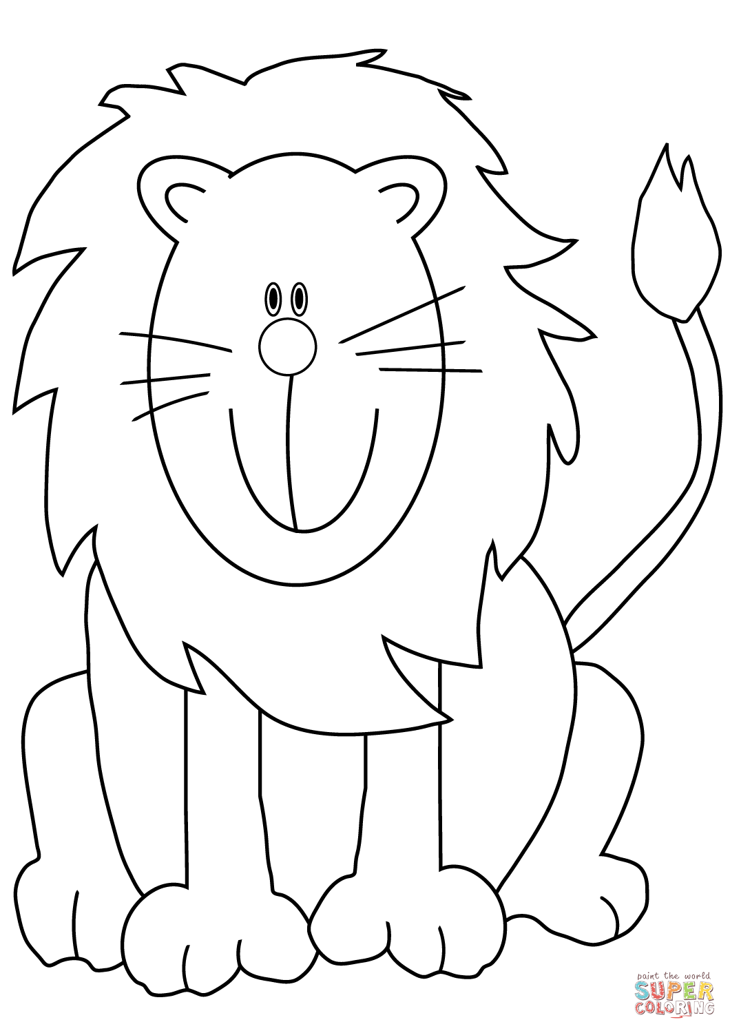 Lovely Cartoon Lion Coloring Page