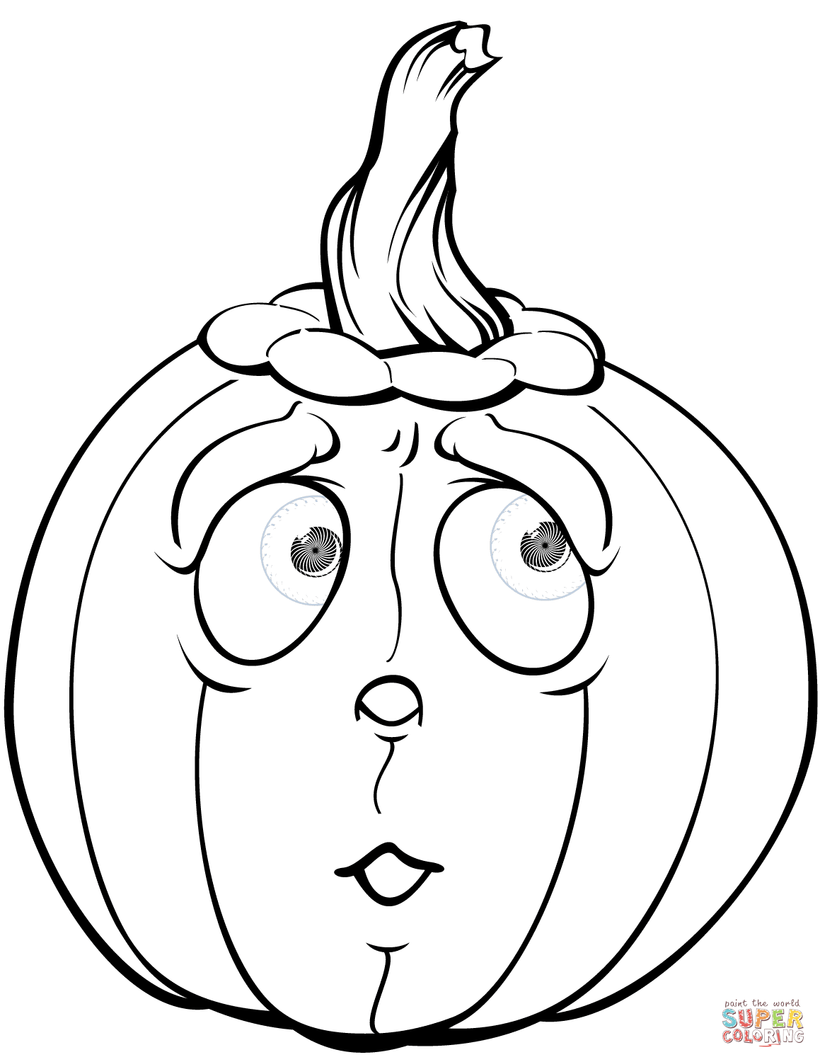 Scared Pumpkin Coloring Page