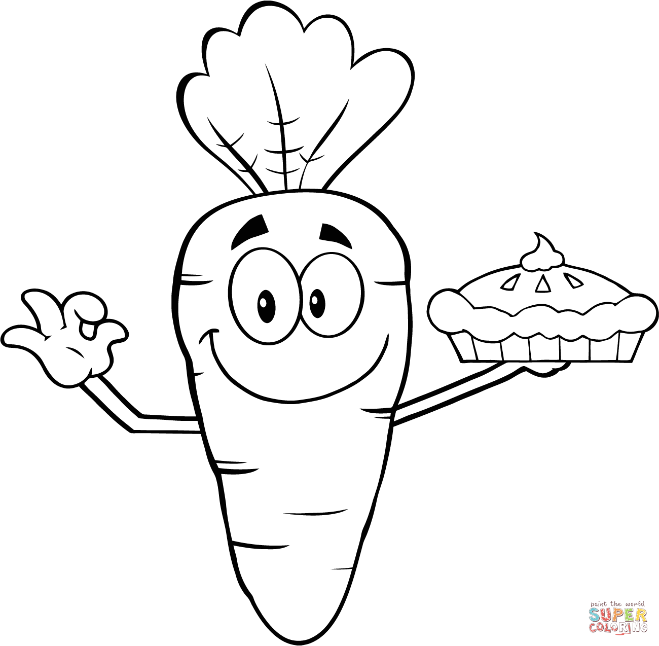 Smiling Cartoon Carrot Holding Up A Pie Coloring Page
