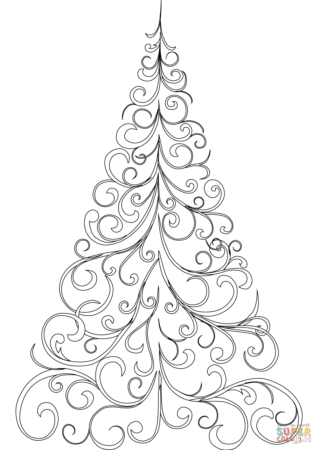 Swirly Christmas Tree coloring page | Free Printable ... | christmas tree coloring pages
