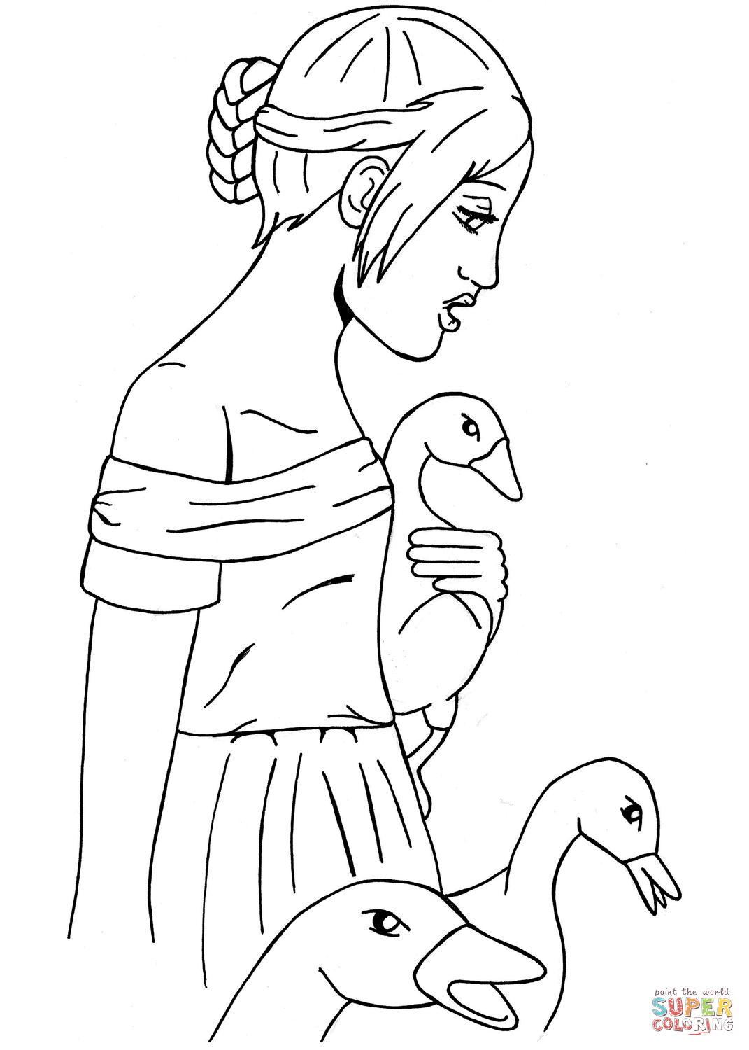 The Goose Girl Coloring Page