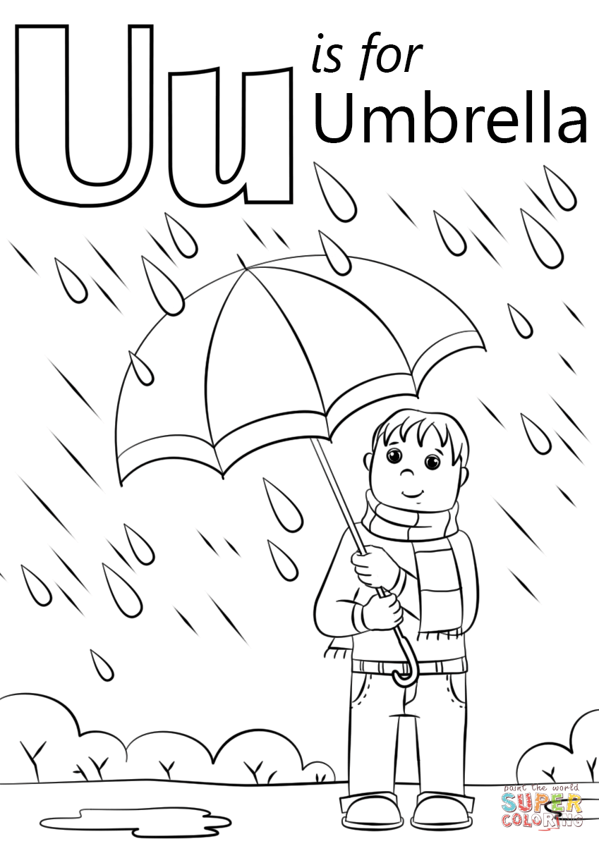 U Is For Umbrella Coloring Page Free Printable Coloring Pages