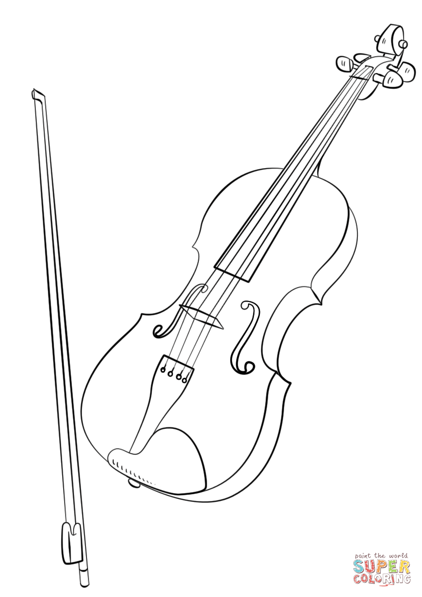 Violin And Bow Coloring Page Free Printable Coloring Pages