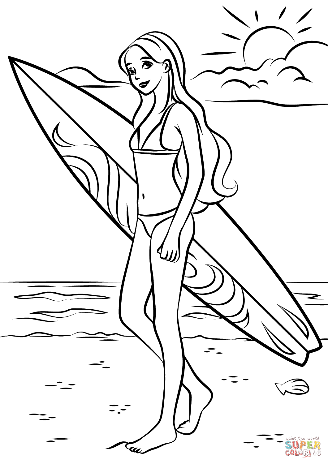 Barbie Surfer Coloring Page