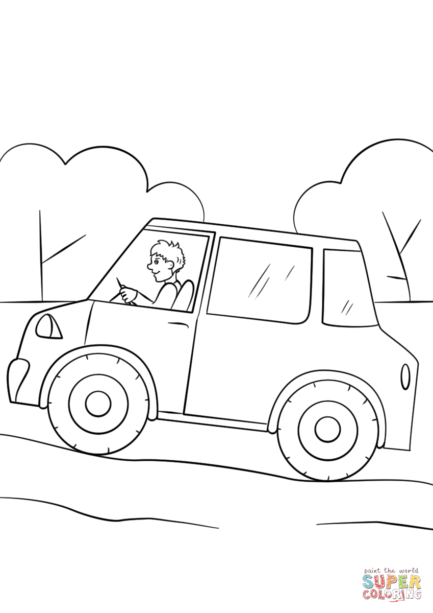 Cartoon Car Coloring Page Free Printable Coloring Pages