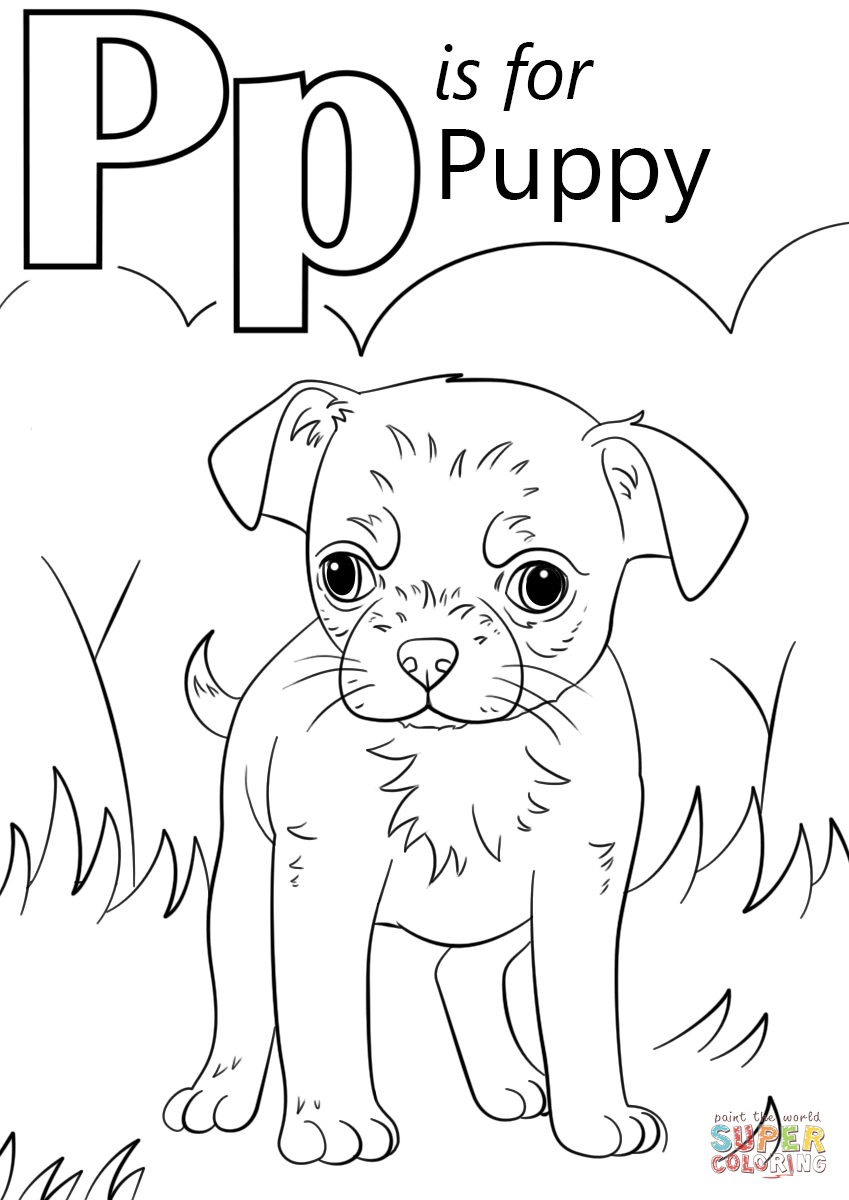 Letter P Is For Puppy Coloring Page Free Printable Coloring Pages