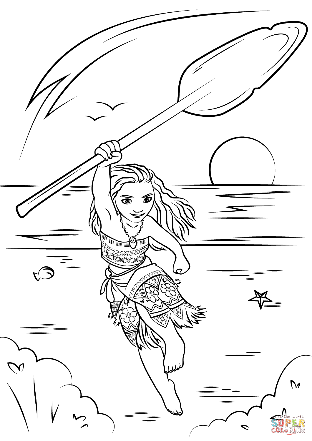 Moana Coloring Page Free Printable Pages