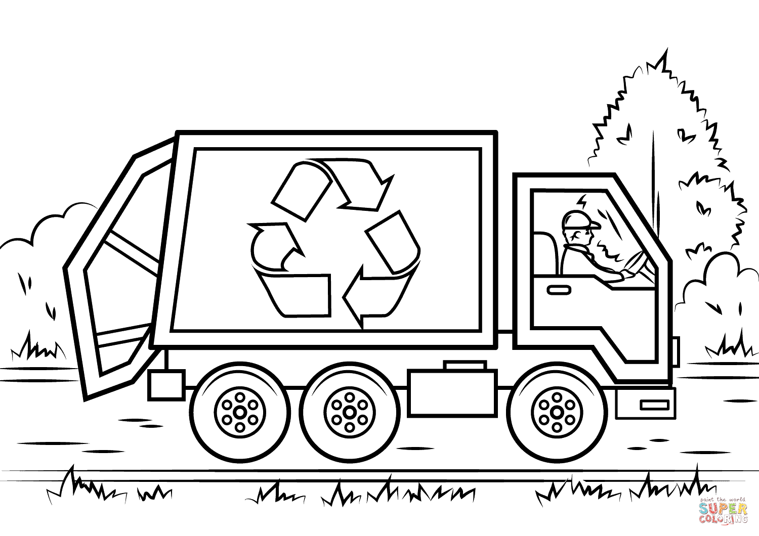 Recycling Truck Coloring Page