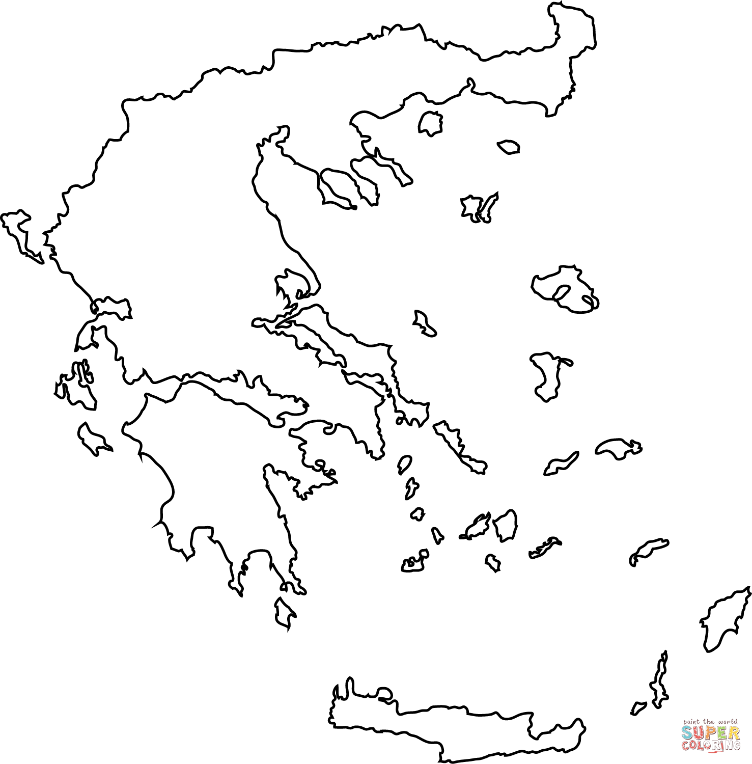 Greece Map Outline Coloring Page