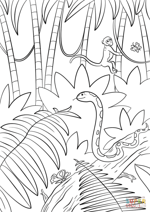 Free Jungle Scene Coloring Pages