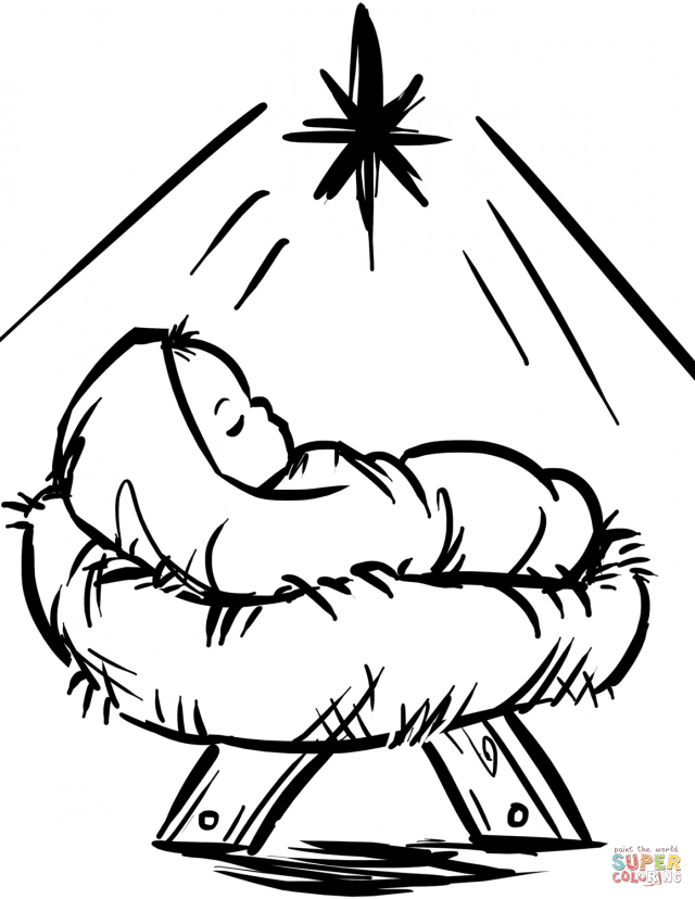 Baby Jesus Manger Scene coloring page  Free Printable Coloring Pages