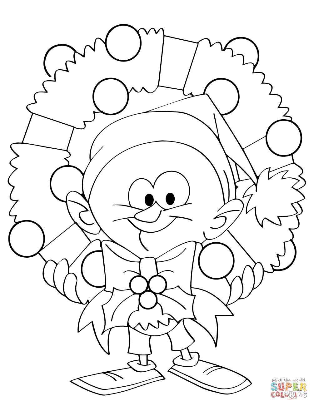 Cartoon Guy Holding Christmas Wreath Coloring Page Free