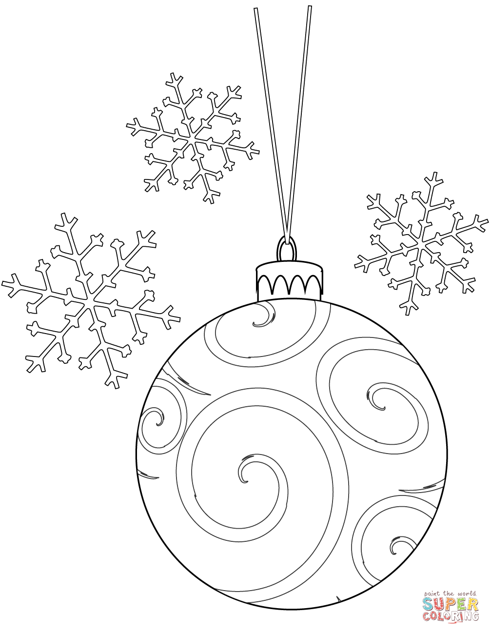 Christmas Bulb And Snowflakes Coloring Page Free Printable