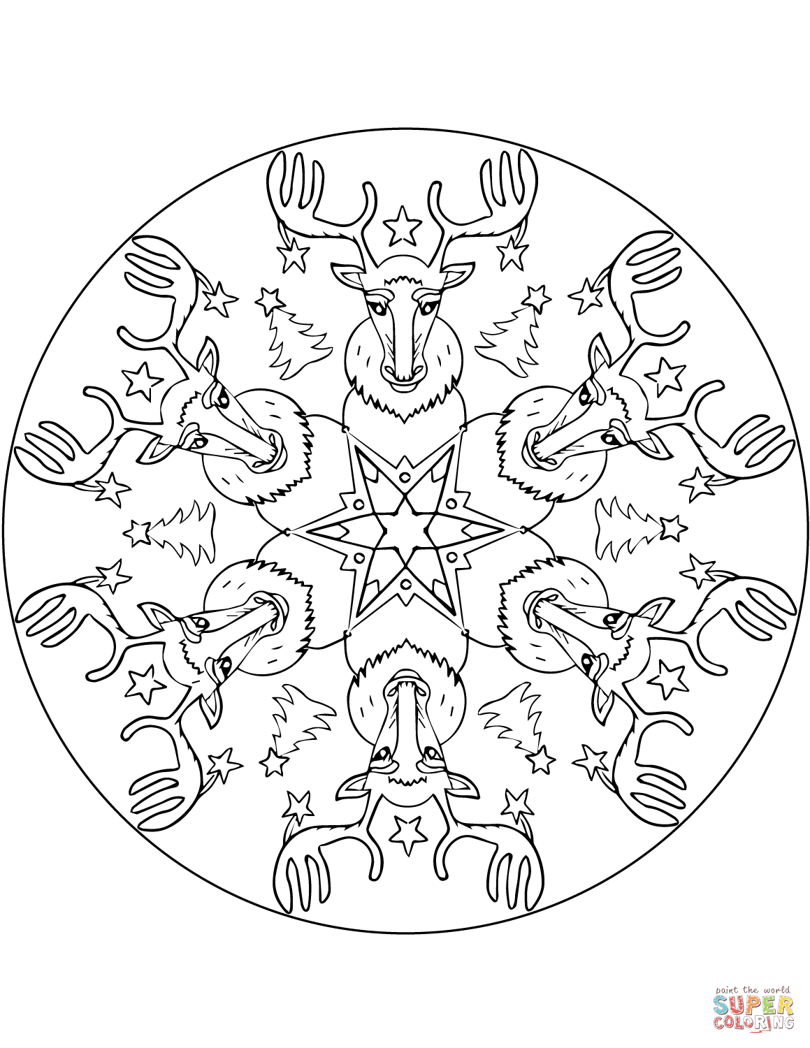 Christmas Mandala With Reindeers Coloring Page