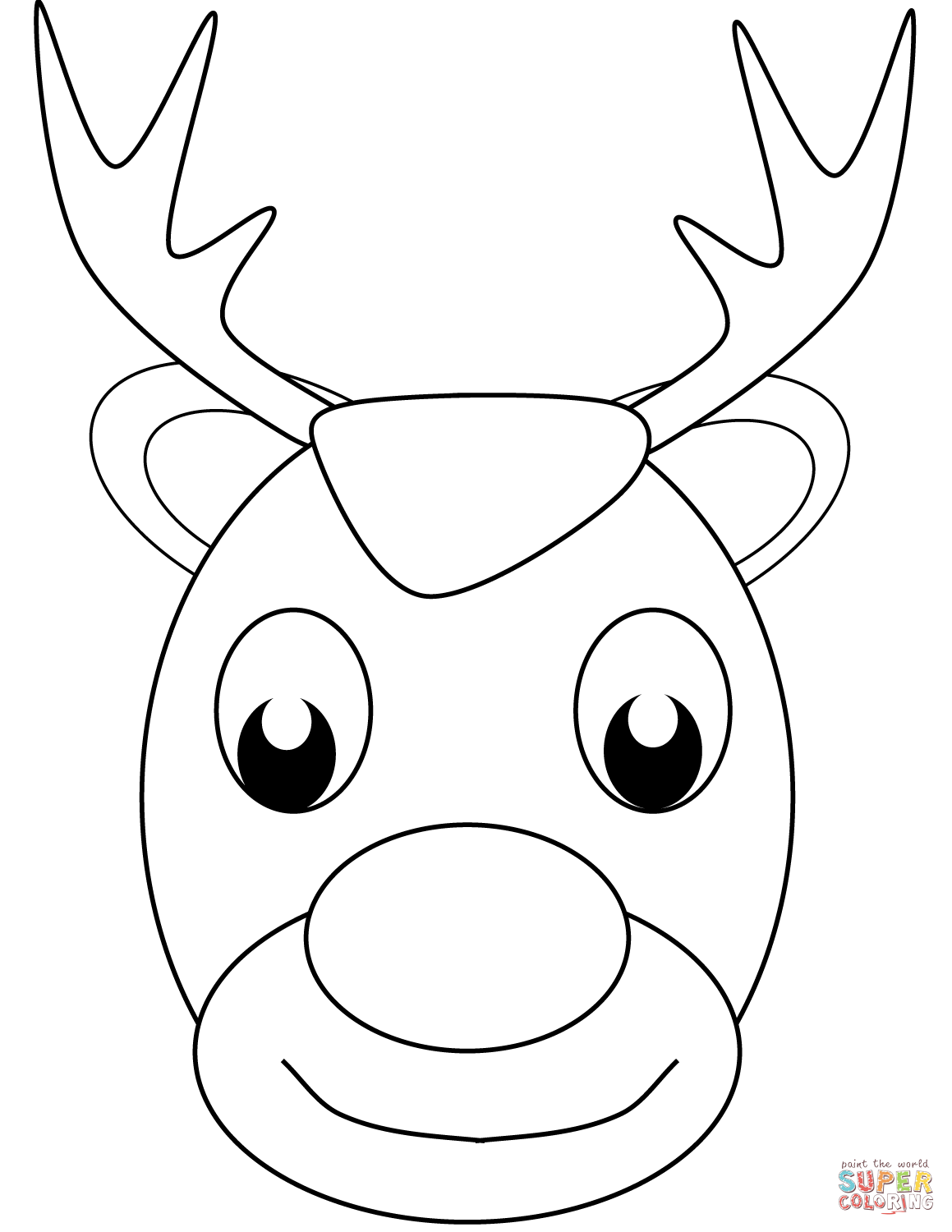 Christmas Reindeer Face Coloring Page